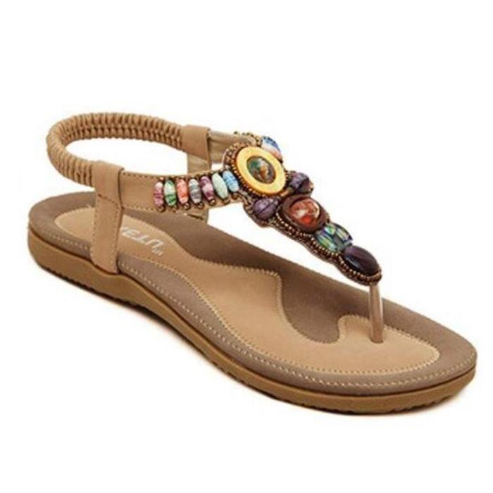 Femmes Chaussures Cuir D'été Sandales Toe Peep Les Bohême Plat En ED2W9YHI