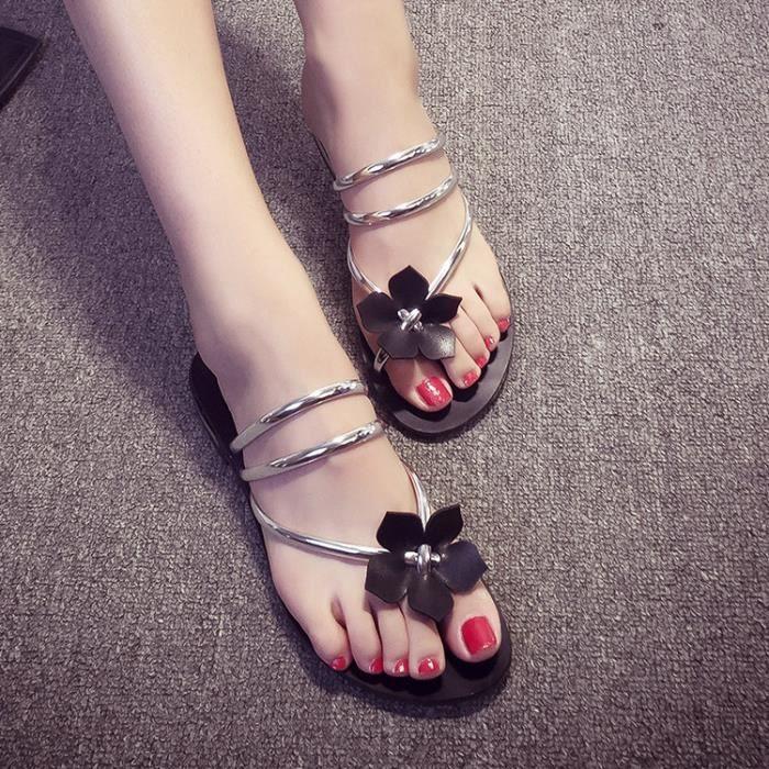 Sandales femme plat mode plage été perles fleur