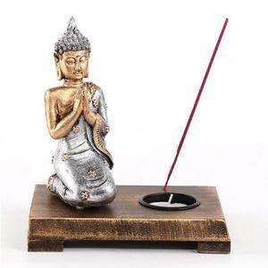 BOUGEOIR - CHANDELIER Bouddha Priant Sur Support Bois - Bougie Et Encens