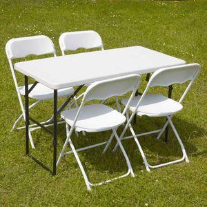 Ensemble table et chaise de jardin plastique - Achat / Vente pas cher