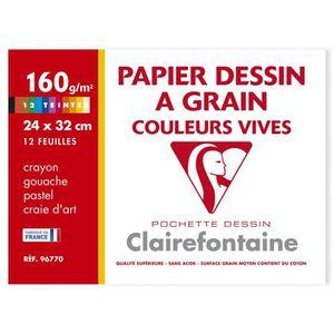 PAPIER A DESSIN CLAIREFONTAINE - Pochette dessin - 12 feuilles - 2