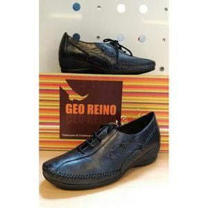 DERBY Chaussures Femme - Marque Geo Reino - Cuir Noir -