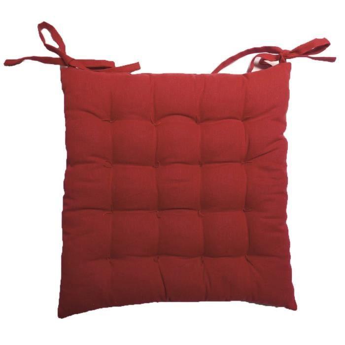 SOLEIL D'OCRE Galette de chaise capitonnée Sweet Home 100% coton 40x40x5 cm rouge