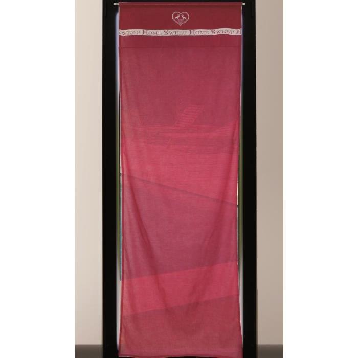 SOLEIL D'OCRE Brise-bise brodé Sweet Home 100% coton 70x200 cm rouge et blanc