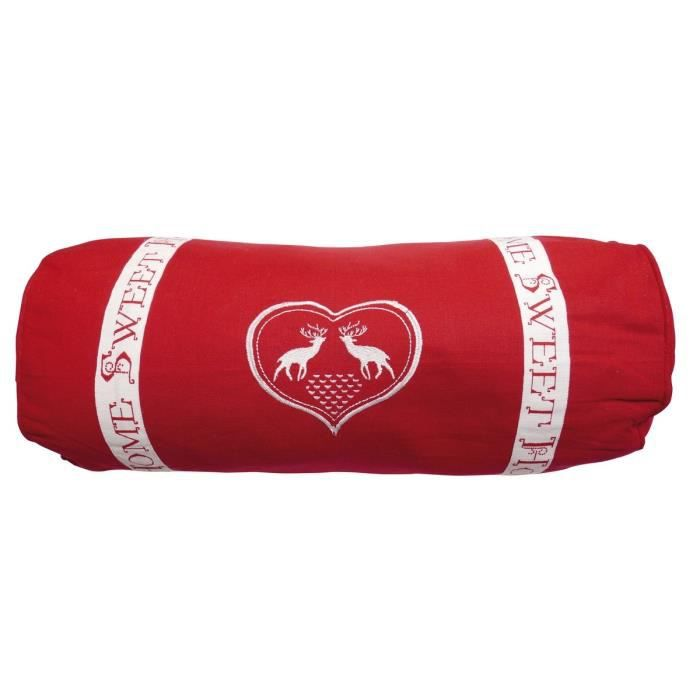 SOLEIL D'OCRE Coussin polochon Sweet Home 20x50 cm rouge et blanc