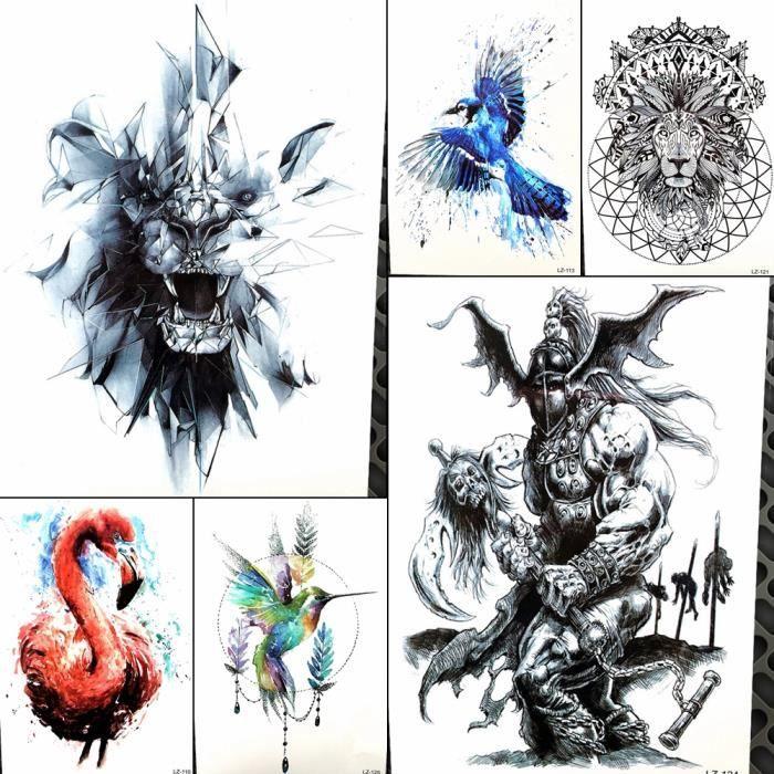 Croquis De Tatouage 6 morceaux noir lion tatouage temporaire hommes poitrine art