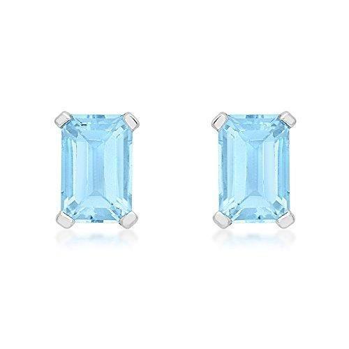 Femmes 9 Ct or blanc Re Ctangle bleu Boucles doreilles NDA8P