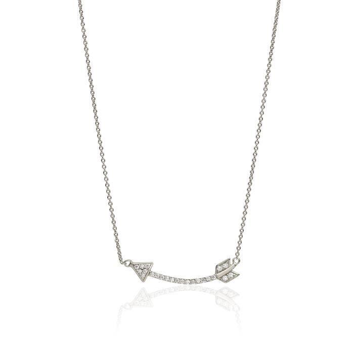 Ingénieux Jewellery Collier En Argent Sterling Avec Pendentif Flèche Et Zircon Cubique Pierres De Longueur 38 à 42,5 Cm Z8P0R