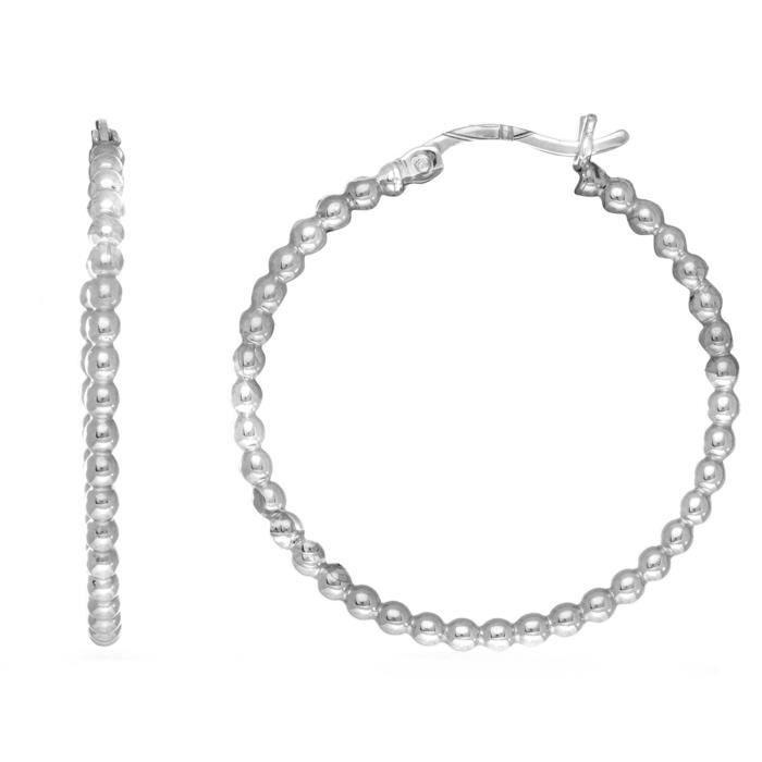 Boucles doreilles- Argent sterling Rhodium plaqué Perles Tube Hoop boucles d'oreilles, diamètre 30mm
