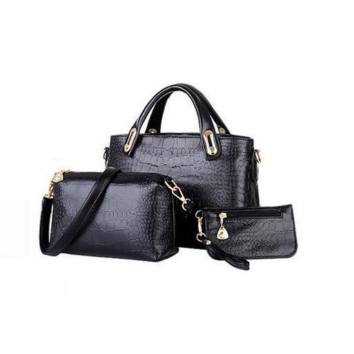 6732c1f099 Sac à main femme cuir sacoche sac à bandoulière pochette portefeuille  élégante 3 pièces Noir