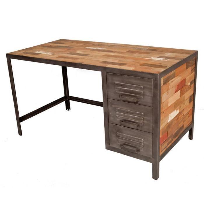 Bureau 3 tiroirs industry l 140 x l 70 x h 76 cm for Bureau 70 cm de large