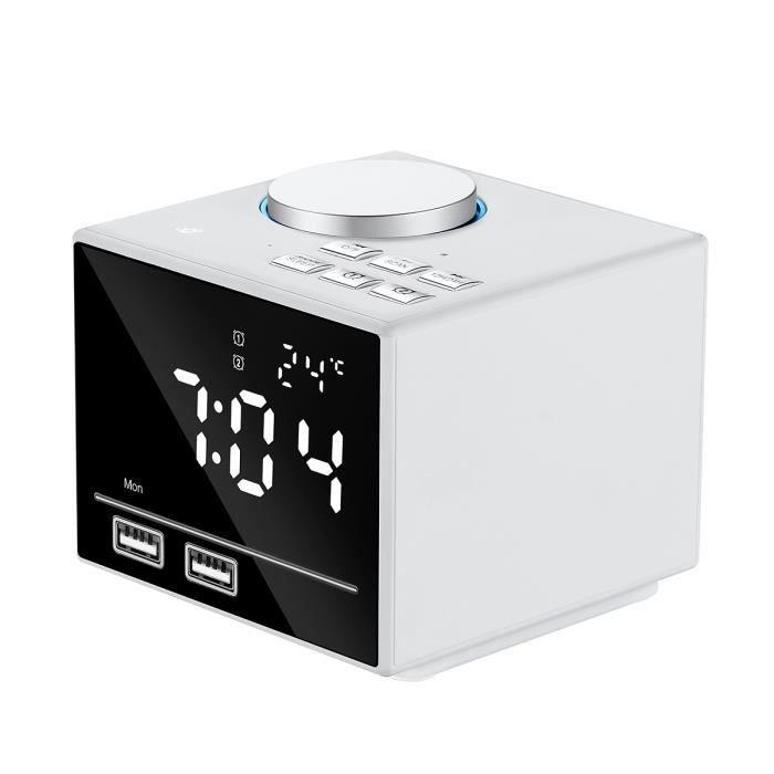 Enceinte Bluetooth, Haut-parleur Bluetooth V4.2 Avec Réveil Et Led Horloge Affichage, 2 Usb Ports Charging (blanc)