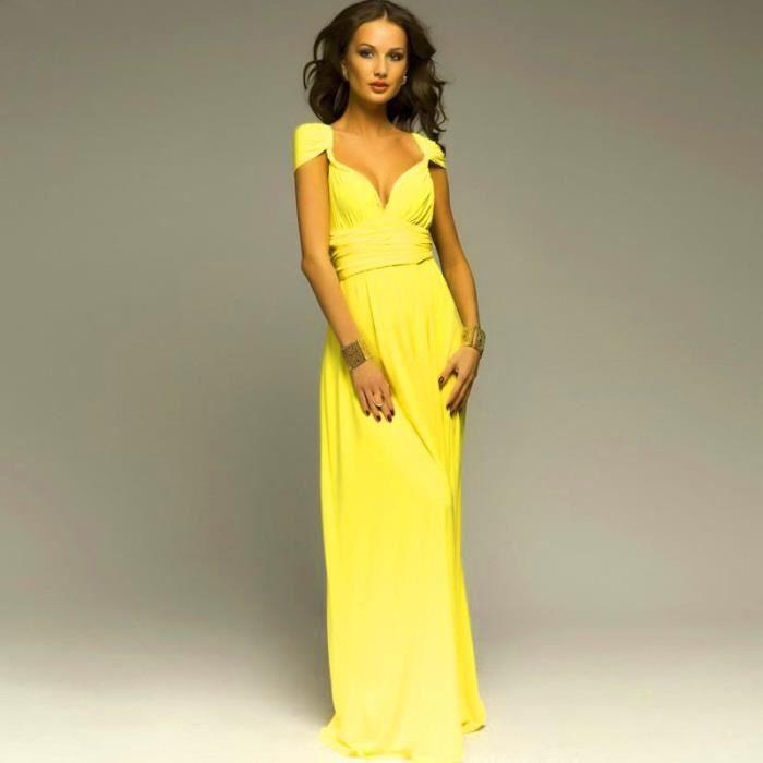 bb6ff20ebed Robe de soirée cocktail robe de plage femme haute taille sexy longue  élégante moderne multi - fonction jaune