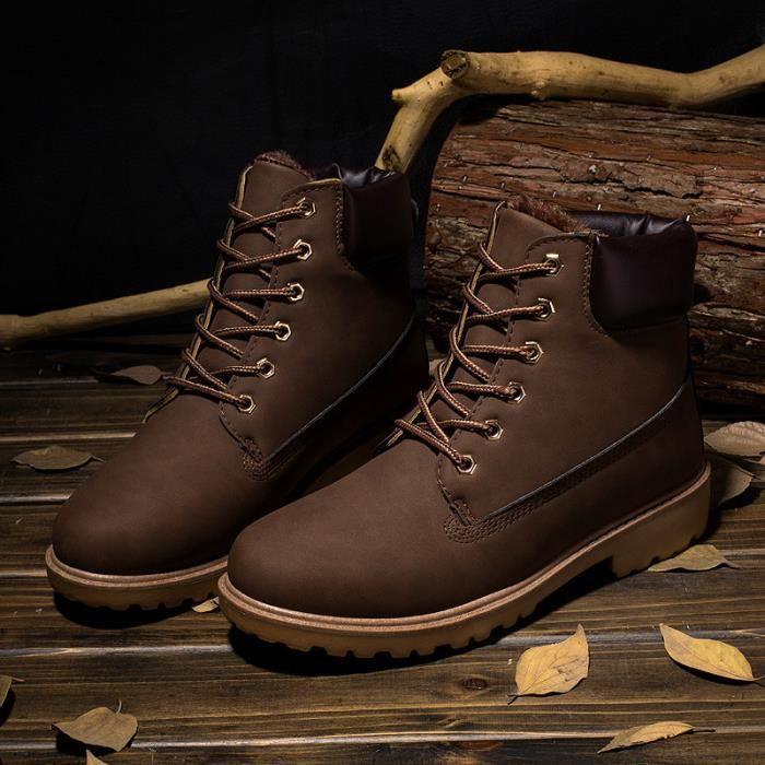 Martin bottes chaussure hiver rétro plus velours marron