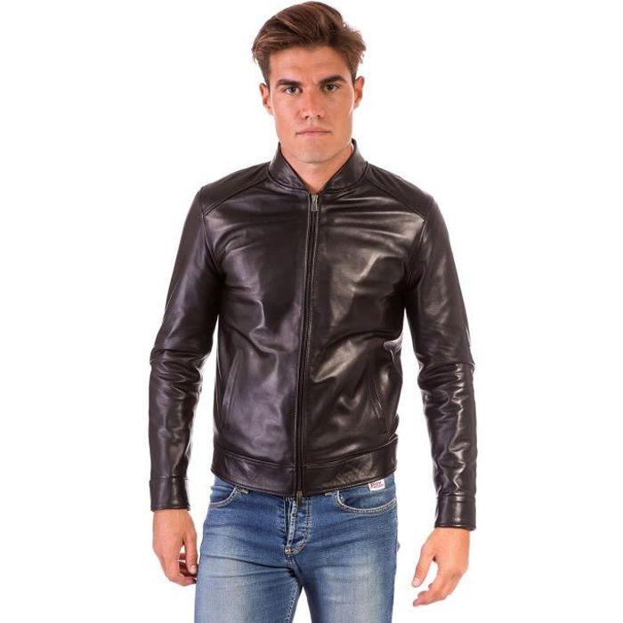 Blouson Motard Tagl Style Homme Plongé noir Colore Couleur Cuir Marlon Noir qCEfwfA