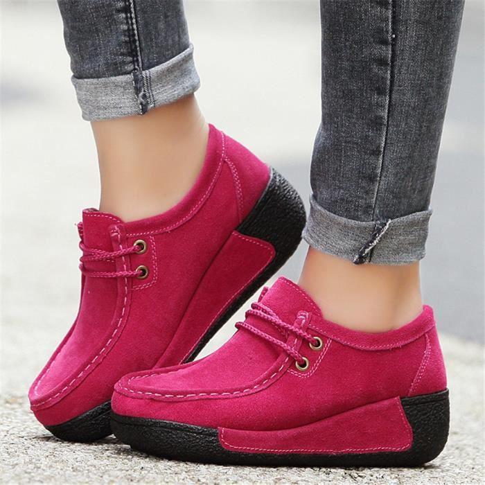 Moccasin Femme Qualité Supérieure Hiver Chaussure épaisses pour Confortable Antidérapant Moccasins Couleur unie Taille 35-40 rqSg4m