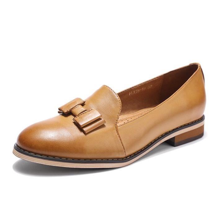 Cuir Slip-on Mocassins pour la main originale Lady Flats Chaussures IS60Z Taille-40