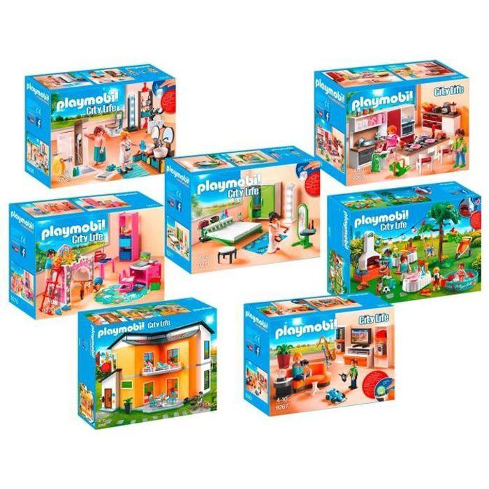 Playmobil 9266 9272 maison moderne achat vente univers miniature cdiscount - Toute les maison playmobil ...