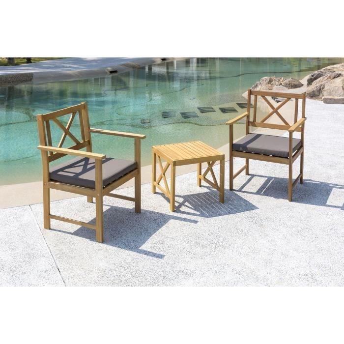 Salon de jardin 2 places - 1 table et 2 fauteuils - En bois d\'acacia ...