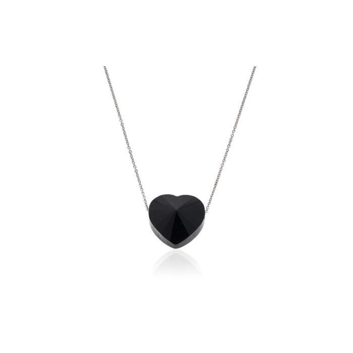 Collier or coeur onyx 14 mm pour femme