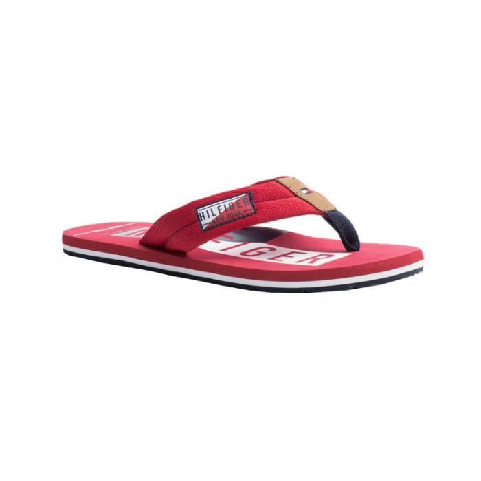 CLAQUETTES - TONGS ROUGE SANGLES TISSU - TOMMY HILFIGER - Taille - 45 hHcIvPdV