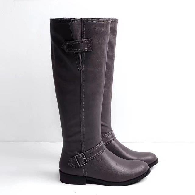 Botte femme cuir zippé chaussure de fourrure en hiver talon bas épais de grande taille mode nouvelle