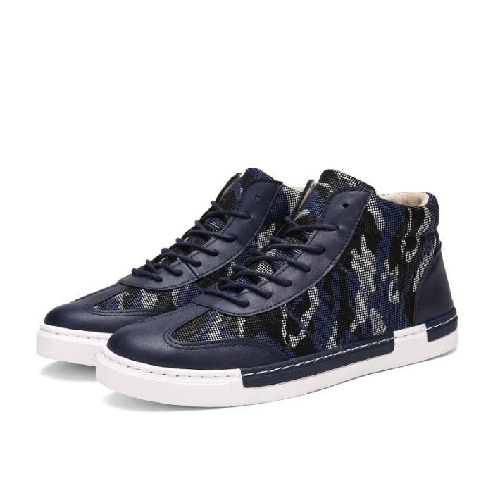 bleu Mode cuir Camouflage en 39 montantes Casual Chaussures Hauts Hommes Chaussures Baskets wwfavq