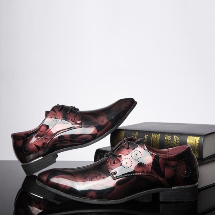 Designer Hommes Flats Lacets luxe Hommes Casual Robe Toe Pointu Party événement Chaussures Hommes,rouge,46