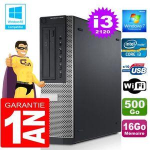 UNITÉ CENTRALE + ÉCRAN PC DELL 7010 DT Core I3-2120 Ram 16Go Disque 500 G