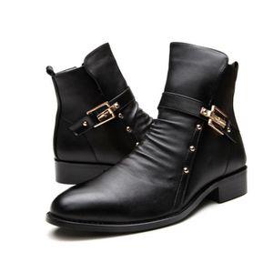 HUIXIN®des bottes en cuir façon punk martin, les bottes de moto dans la dentelle