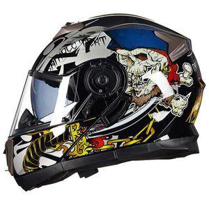 CASQUE MOTO SCOOTER Casque Moto double lentille cool de personnalité C