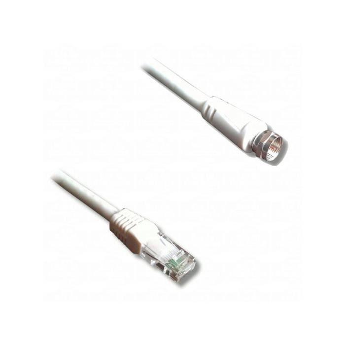 LINEAIRE TVRFG Câble antenne RJ45 mâle / fiche F mâle 5m00