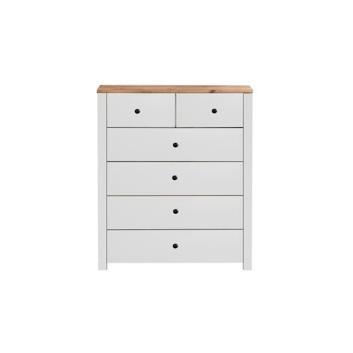 OXFORD Commode de chambre - Classique - Blanc et décor chêne poutre - L 98 cm