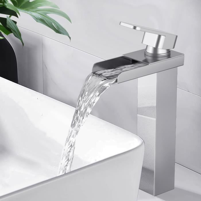 Merveilleux Homelody® Robinet Salle De Bain Haut Mitigeur Lavabo Vasque En Laiton  Chromé Robinet Cascade Design Moderne