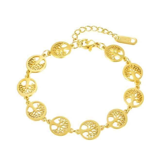BRACELET - GOURMETTE Bracelet  Personnalité Or Couleur Femme Bracelets