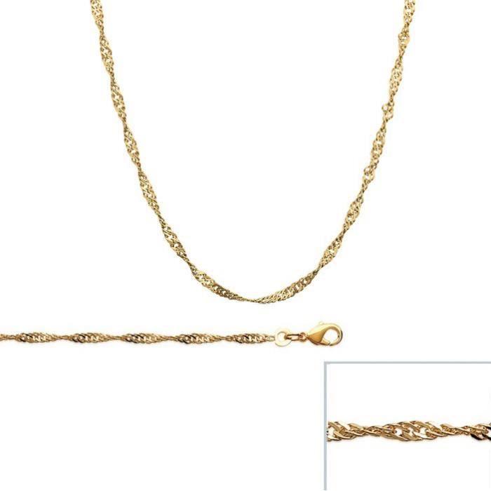 Chaine Torsadé Plaqué Or maille SINGAPOUR largeur 2,3mm (40 cm)