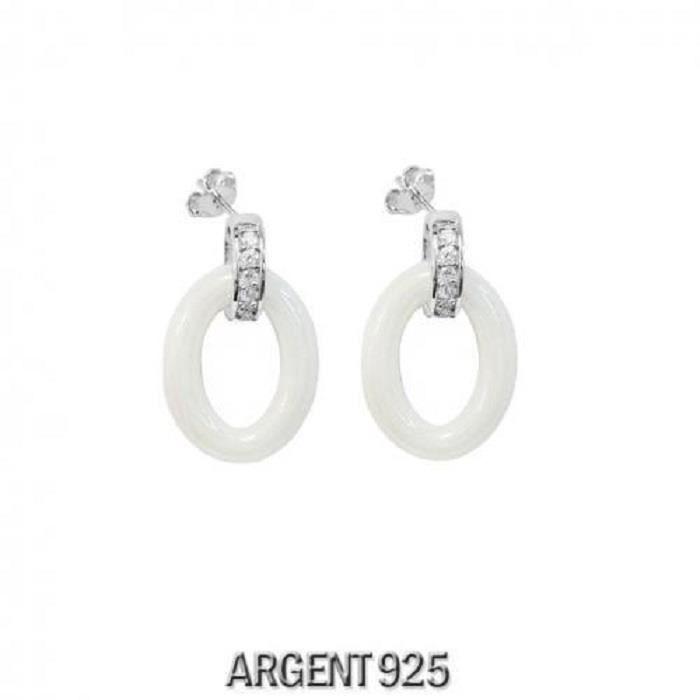 Boucles doreilles Argent 925 Ovale Céramique Blanche Barrette Zirconium