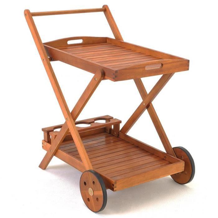 Chariot de service en bois avec tablette amovible achat for Tablette bois acacia