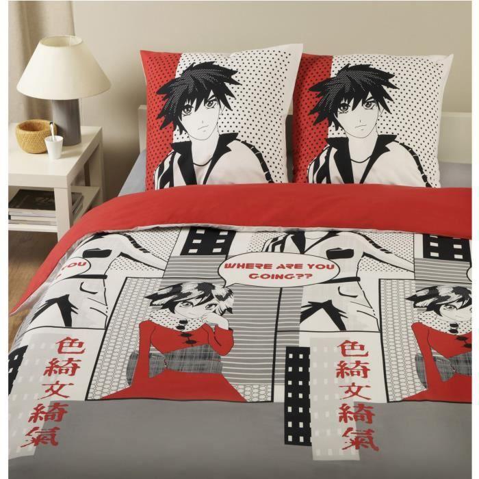 parure housse de couette en 100 coton manga 240x220 cm 2 taies d 39 oreiller 65x65 cm achat. Black Bedroom Furniture Sets. Home Design Ideas