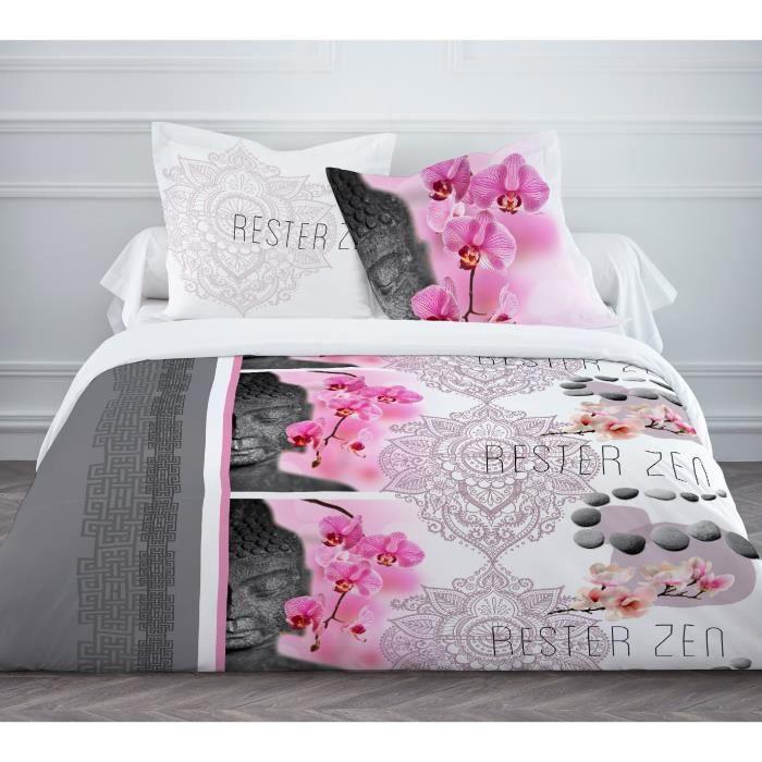 today enjoy parure de couette rester zen 100 coton 1 housse de couette 220x240cm 2 taies. Black Bedroom Furniture Sets. Home Design Ideas