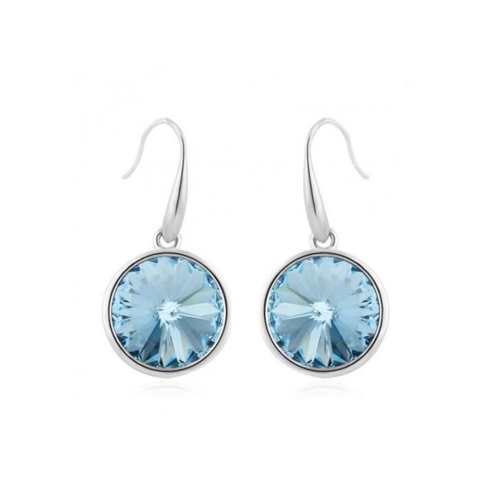 Boucles d oreilles Plaqué Rhodium Océan Bleu avec Cristaux Swarovski