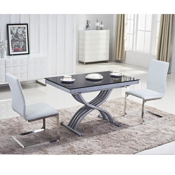 TABLE BASSE Table relevable Reality verre noir