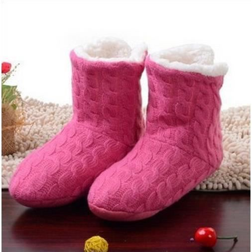 US 8-10 (UER38-41) belle maison Chaussures, chaussettes sol, couverte chaussons d'hiver Foot Warmer (rose rouge)