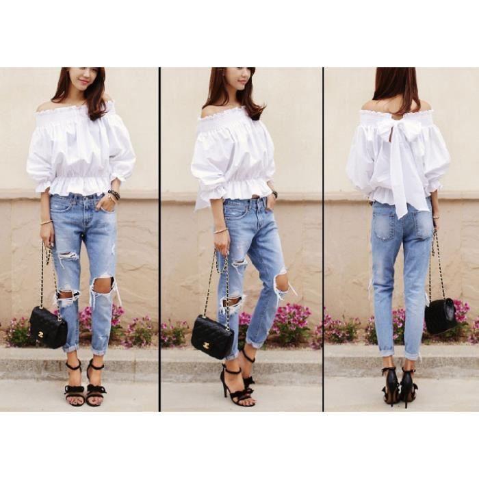 Taille Amincissant D Aux Claire Filles Nouveauté Bleu Trou Grande Déchirés Pour Jeans Les Femmes Slim Skinny Genoux cjqAR354L