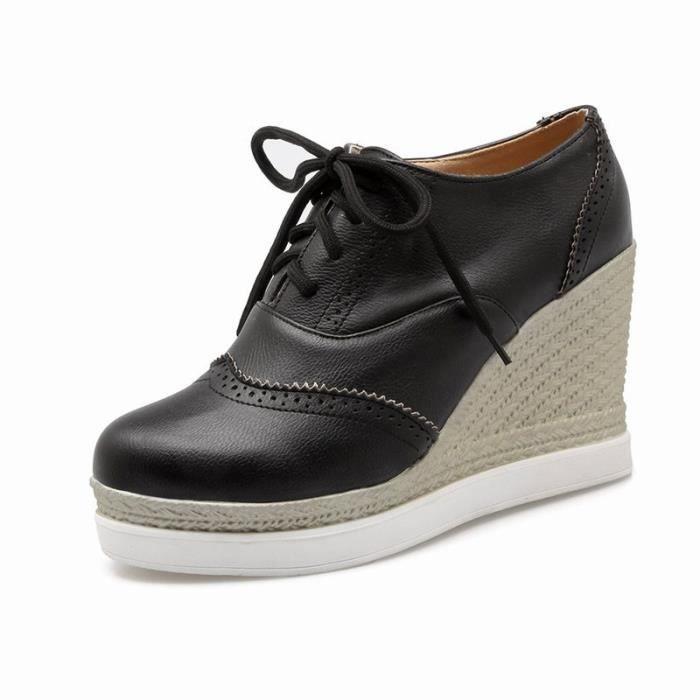 Chaussures Femme Lacets Plateforme Ronde En PU Cuir Toutes les pointures de la 35 à la 43