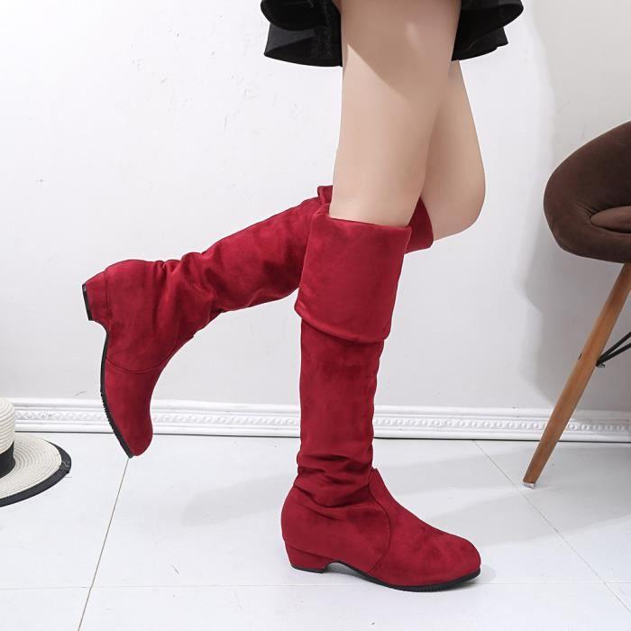 femme hiver automne bottes plates chaussures haute patte hauts courtes bottes longues