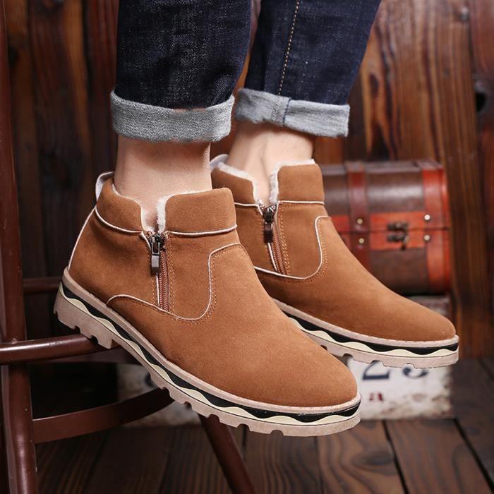Hommes D'hiver En Cuir Chaud Neige Cool Sneakers Angleterre Zip Chaussures Bottines AKWhRA