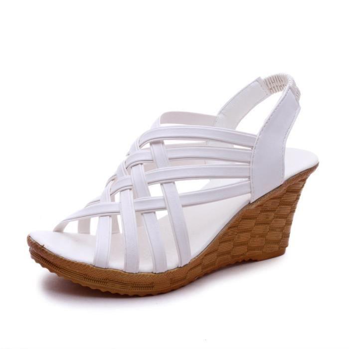 forme dames WONZOM® de confortable décontractées Sandales Chaussures pour plate Bohême Sandale Sandales de d'été plage haute femmes xq0warpq1