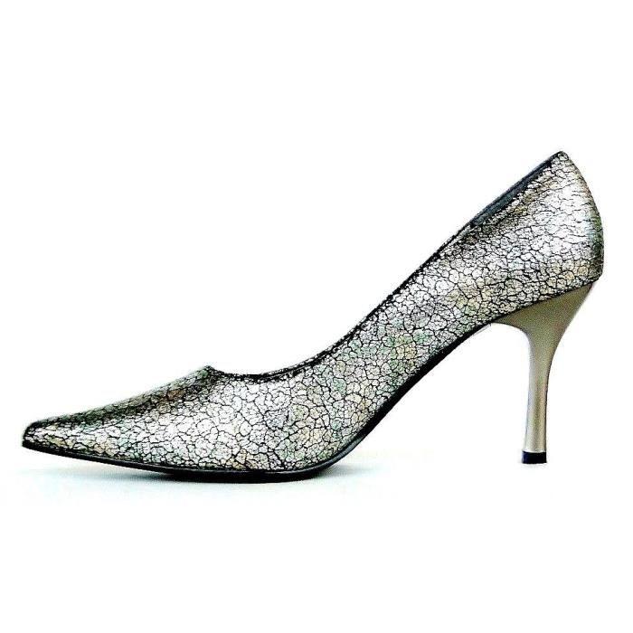 concepteur neuf et d'occasion jolie et colorée aperçu de Escarpins chaussures femme à talons hauts doré vert cuir effet craquelé  FITO Italie