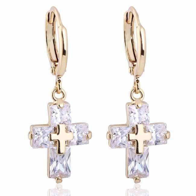 Boucles doreilles croix cristal SWAROVSKI ELEMENTS zirconium plaqué or